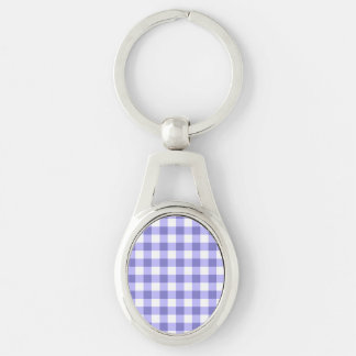 Purple And White Gingham Check Pattern Silver-Colored Oval Metal Keychain
