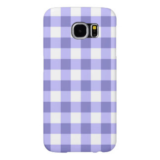 Purple And White Gingham Check Pattern Samsung Galaxy S6 Case