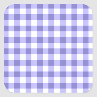 Purple And White Gingham Check Pattern Square Sticker