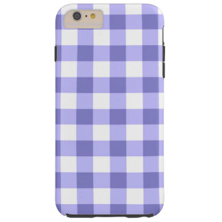 Purple And White Gingham Check Pattern Tough iPhone 6 Plus Case