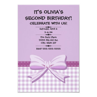Purple and White Gingham Child's First Birthday Card
