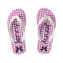Purple and White Gingham Girls Flip Flops