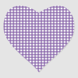 Purple and White Gingham Heart Sticker