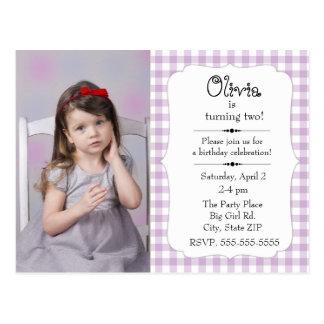 Purple and White Gingham Little Girl Birthday Postcard