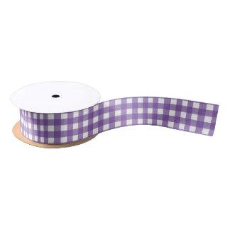 Purple and White Gingham Medium Satin Ribbon