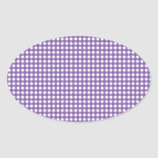 Purple and White Gingham Oval Sticker