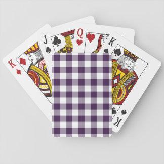 Purple and White Gingham Pattern Card Decks