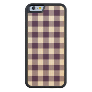 Purple and White Gingham Pattern Carved Maple iPhone 6 Bumper Case