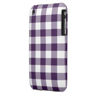 Purple and White Gingham Pattern iPhone 3 Case