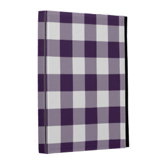 Purple and White Gingham Pattern iPad Case