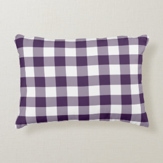 Purple and White Gingham Pattern Decorative Pillow