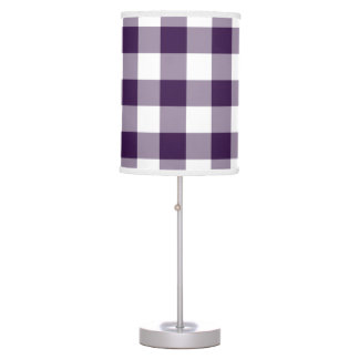 Purple and White Gingham Pattern Desk Lamp