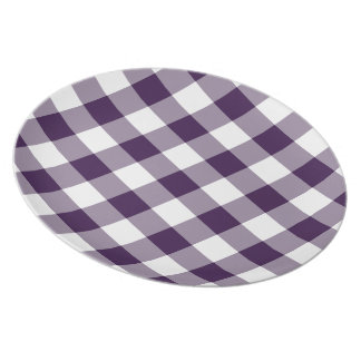 Purple and White Gingham Pattern Dinner Plate