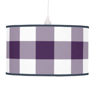 Purple and White Gingham Pattern Hanging Lamp