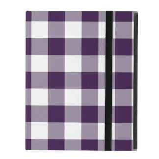 Purple and White Gingham Pattern iPad Covers