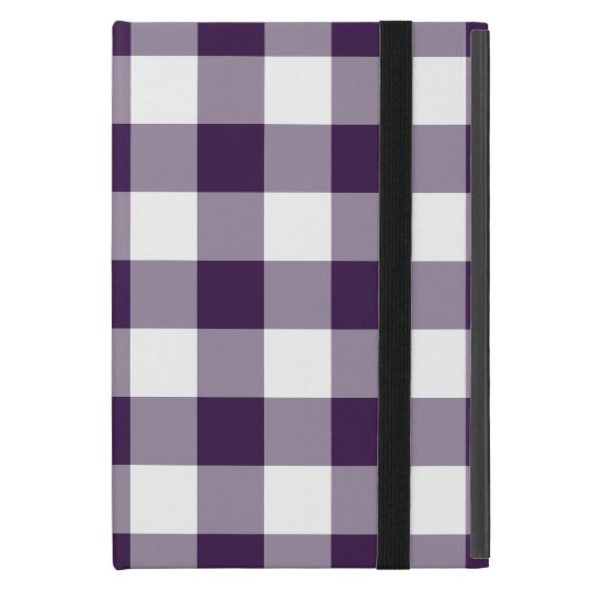 Purple and White Gingham Pattern iPad Mini Cases
