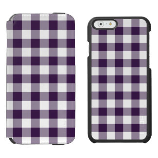 Purple and White Gingham Pattern iPhone 6/6s Wallet Case