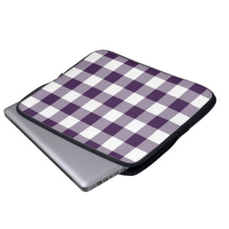 Purple and White Gingham Pattern Laptop Sleeve