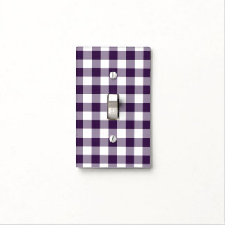 Purple and White Gingham Pattern Light Switch Cover