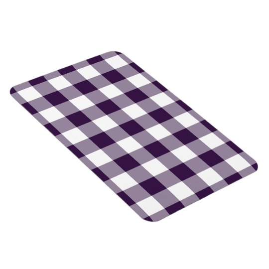Purple and White Gingham Pattern Magnet