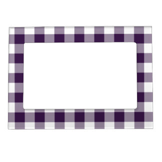 Purple and White Gingham Pattern Magnetic Picture Frame