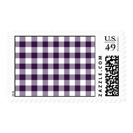 Purple and White Gingham Pattern – Medium Postage Stamps