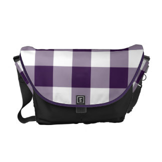 Purple and White Gingham Pattern Messenger Bag