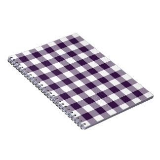 Purple and White Gingham Pattern Note Books