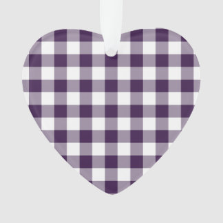 Purple and White Gingham Pattern Ornament