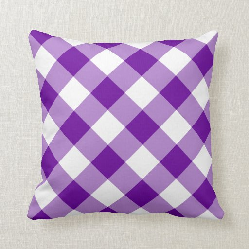 Purple and White Gingham Pattern Pillow