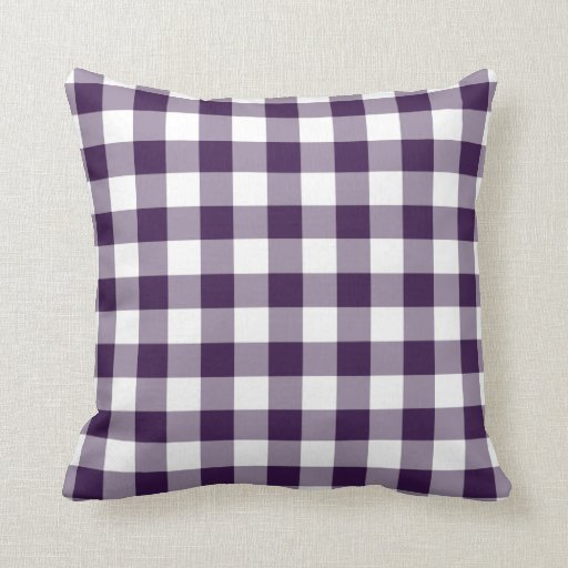 Purple and White Gingham Pattern Pillows