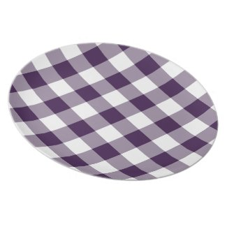 Purple and White Gingham Pattern plate