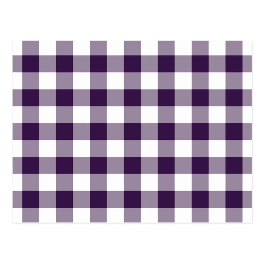 Purple and White Gingham Pattern Postcard