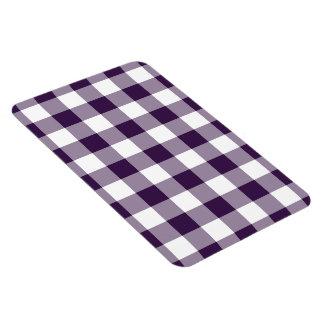 Purple and White Gingham Pattern Rectangular Photo Magnet