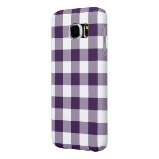 Purple and White Gingham Pattern Samsung Galaxy S6 Case