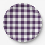 Purple and White Gingham Pattern 9 Inch Paper Plate