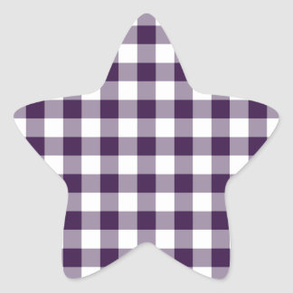 Purple and White Gingham Pattern Star Sticker