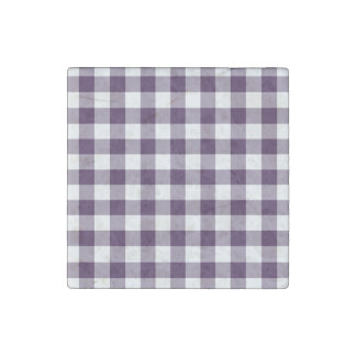Purple and White Gingham Pattern Stone Magnet