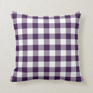 Purple and White Gingham Pattern Throw Pillow