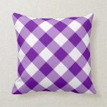 Purple and White Gingham Pattern Throw Pillows