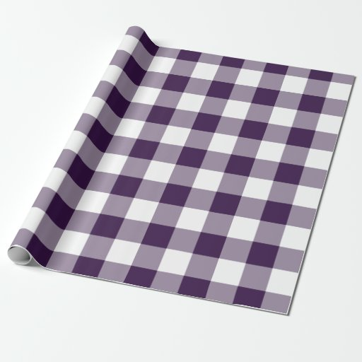 Purple and White Gingham Pattern Wrapping Paper