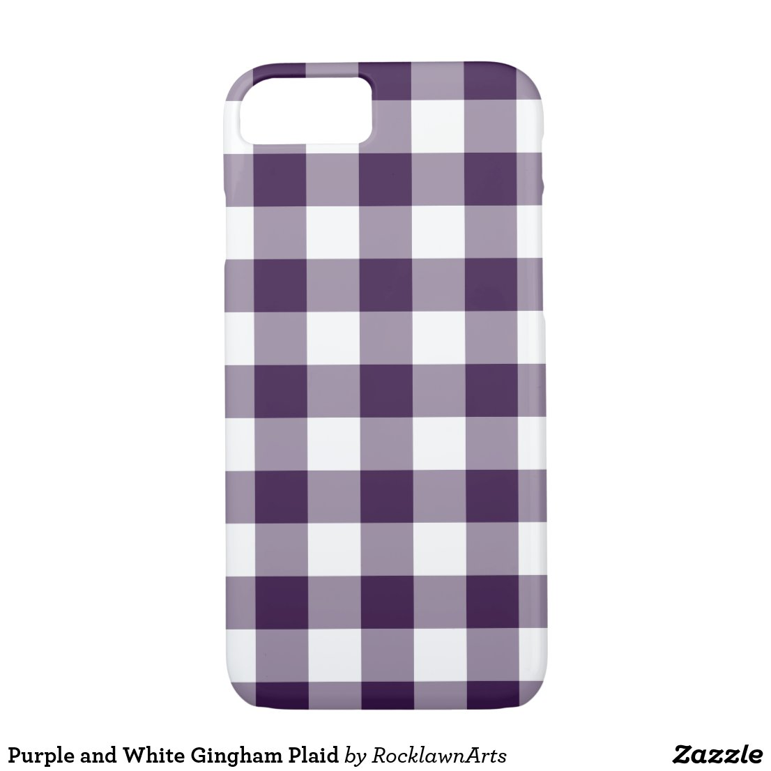 Purple and White Gingham Plaid iPhone 7 Case