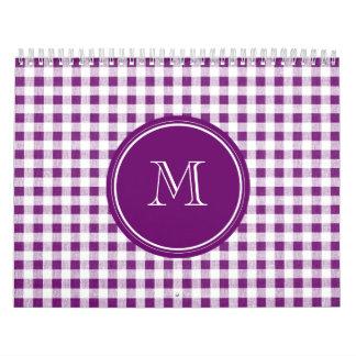 Purple and White Gingham, Your Monogram Calendar