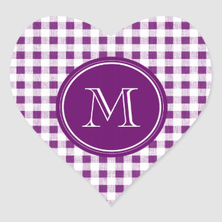 Purple and White Gingham, Your Monogram Heart Sticker