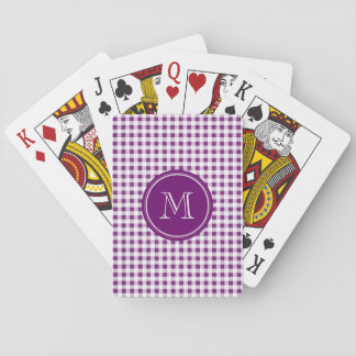 Purple and White Gingham, Your Monogram Card Deck