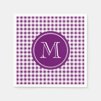 Purple and White Gingham, Your Monogram Disposable Napkins