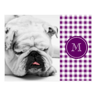 Purple and White Gingham, Your Monogram Postcard
