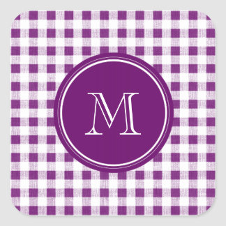 Purple and White Gingham, Your Monogram Square Sticker