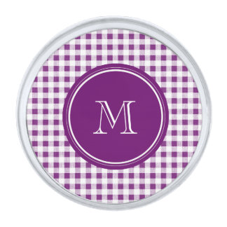Purple and White Gingham, Your Monogram Silver Finish Lapel Pin