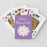 """Purple and white girly daisy flower kids Birthday Playing Cards<br><div class=""""desc"""">Purple and white girly daisy flower kids Birthday playing cards gift idea. Cute gift idea for girls. Make one with personalized kids name or monogram. Fun for children,  daughter,  granddaughter etc..</div>"""